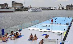 People enjoy themselves at floating swimming pool in Belgium - Xinhua River Bath, Antwerp Belgium, Floating, Pattaya, Urban Planning, City Art, Urban Design, Wonderful Places, Swimming Pools