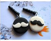 2Pc Black and White mustache Couple Lover Clay Dust Plug - 3.5mm Smart Phone Earphone Cap Dustproof Charms for iPhone 4 4s 5 ipad