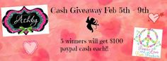 Click the picture to go enter to win $100 paypal cash!  There will be 5 winners!!