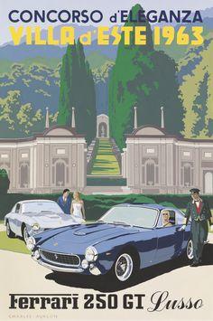 PEL216: '1963 Ferrari 250 GT Lusso - Villa d'Este' by Charles Avalon - Vintage car posters - Art Deco - Pullman Editions - Ferrari