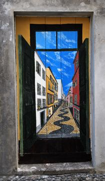 """Projecto artE pORtas abErtas - Funchal - ArT of opEN doors project in Rua de Santa Maria of Funchal  It is a project to open the doors of the city of Funchal to art and culture. They were not """"virtual entrances"""" rather old and forgotten. These doors are from abandoned shops and deteriorated areas that take on new life, in order to sensitize people filling the streets with cultural and artistic events."""