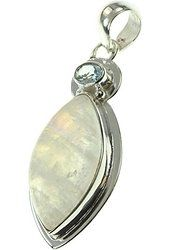 925 Sterling Silver BLUE TOPAZ, RAINBOW MOONSTONE Pendant, 2""