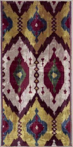 Silk Ikat Velvet Length, Uzbekistan, Bukhara, third quarter of the 19th century warp ikat, velvet weave