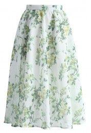 Meadow Serenades A-line Midi Skirt