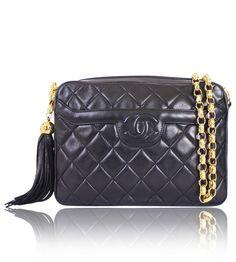 4158fc780f0b Chanel Black Lamb Skin Tassel Shoulder Bag Rare Vintage