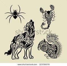 Vintage animals floral ornament symbol. Decorative animals : spider, scorpion, wolf, and squirrel with flora carving decoration. Easy to cha...
