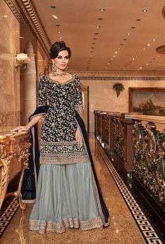 Pakistani Sharara, Pakistani Dress Design, Pakistani Outfits, Indian Outfits, Black Pakistani Dress, Pakistani Fashion Party Wear, Eid Outfits, Indian Party Wear, Walima