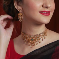 Tarinika Miah Gold-Plated Indian Jewelry Choker Set with White Red Green Indian Jewelry Sets, Indian Wedding Jewelry, Indian Gold Jewellery, India Jewelry, Ethnic Jewelry, Gold Jewelry Simple, Silver Jewelry, Jewlery, Silver Rings