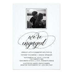 Black and White Fancy Script Engagement Party
