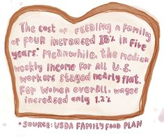 (3 of 3) While American Wages Have Stagnated, The Cost of Food Has Risen  The cost of feeding a family of four increased 18% in five years. Meanwhile, the median weekly income for all U.S. workers stayed nearly flat. For women over all, wages increased only 1.2%  [Click on this image for a short video and analysis about how Americans often underestimate the extent of economic inequality]  Source: U.S.D.A. Family Food Plan