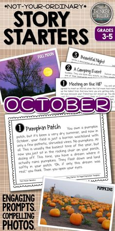 Engaging writing prompts paired with compelling photographs... for October. Some are seasonal, some are spooky, NONE are ordinary! Each photo has four prompts, with a variety of writing forms. Gr 3-5 ($)