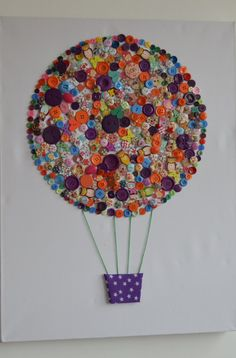 Button art hot air balloon large canvas handmade