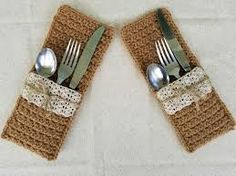 Image result for burlap cutlery holder