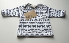 Hand Printed Unisex Long Sleeve Baby Top in Organic Cotton - Navy Animals on White. $49.00, via Etsy.
