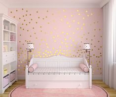 Love these gorgeous gold polka dots! Perfect for a little girl's room. Metallic Gold Wall Decals Polka Dot Wall Sticker Decor | #home #decor #walldecal #gold #polkadots #ad