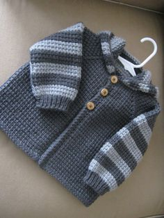 Chrochet Baby Boy Sweater with Hood - Dark Grey and Light Grey - MADE TO ORDER - 12-18 Months in Tunisian Crochet - Handmade