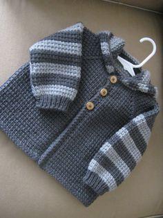 Chrochet Baby Boy Sweater with Hood - Dark Grey and Light Grey - MADE TO ORDER - 12-18 Months in Tunisian Crochet - Handmade