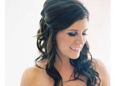 Peinado novia medio recogido suelto cabello largo / peinado de novia