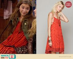 Riley's orange printed dress, green jacket, tan boots and embellished backpack on Girl Meets World.  Outfit Details: http://wornontv.net/34222/ #GirlMeetsWorld