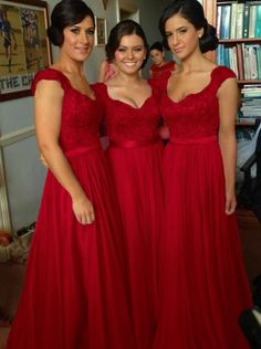Elegant V-neck Floor Length Chiffon Sleeveless Red Bridesmaid Dress