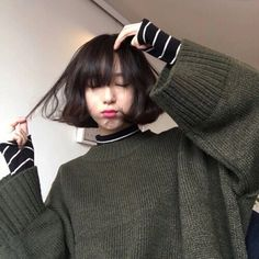 Asian with bangs, interesting way to layer