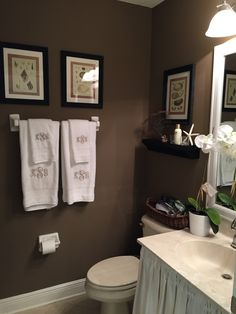 1000 images about guest bathroom ideas on pinterest for Chocolate brown and blue bathroom ideas