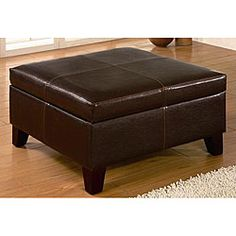 @Overstock - Give your home extra storage and style with a beautiful square ottoman benchLiving room furniture is constructed with a sturdy wood frame and legsOttoman is covered in a fashionable soft dark brown bi-cast leather  http://www.overstock.com/Home-Garden/Dark-Brown-Square-Ottoman-Storage-Bench/3859958/product.html?CID=214117 $316.99