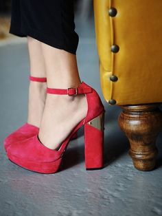 $178, Red Suede Heeled Sandals: Free People Sol Sana Rediscovered Heel. Sold by Free People. Click for more info: https://lookastic.com/women/shop_items/47974/redirect