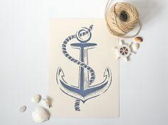 Anchor handmade papercut poster beige navy blue by Papercutout