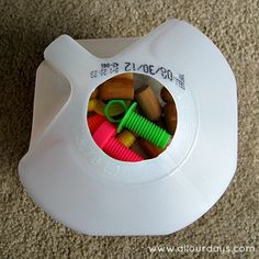 Baby Discovery Jug: Simple & Free DIY Baby Toy (31 Days of Busy Bags & Quiet Time Activities @ AllOurDays.com)