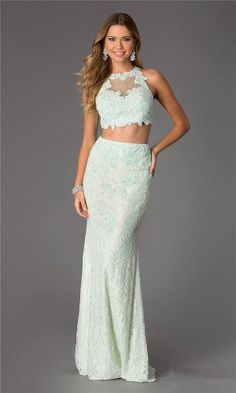 Jovani 24405 Lace Long Mint Two Piece Prom Dresses 2015