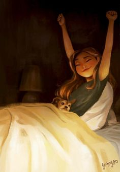 Yaoyao Ma Van As's illustrations celebrate the incredible bond between dogs and their owners. Any dog owner will relate to these drawings. Art And Illustration, Illustrations, Girl Cartoon, Cartoon Art, Alone Art, Images Disney, Digital Art Girl, Girl And Dog, Anime Art Girl