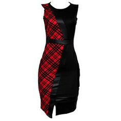 Innocent Red/Black Patterned Ladies Armless Bodycon Dress