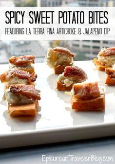 Recipe: Spicy Sweet Potato Bites, a delicious and easy-to-make appetizer featuring La Terra Fina Artichoke & Jalapeno Dip