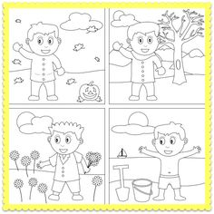 A Four Seasons Coloring Worksheet and Seasons Song for Kids! Let's color the four seasons!