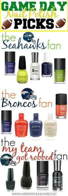 Super Bowl Nail Polish Picks via @Hairspray and HighHeels