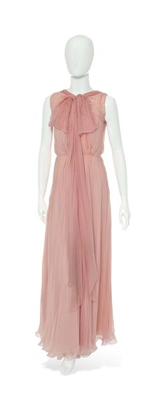 A Chanel pink chiffon evening gown #chanel