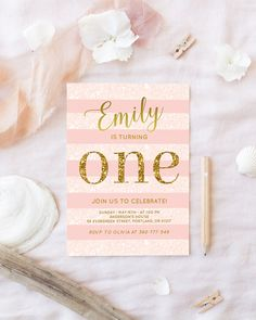 Pink And Gold Birthday Invitation Baby Girl First Party Invite Blush Glitter One Printable Digital