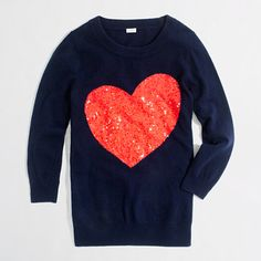 Intarsia Charley sweater in sequin heart   J. Crew Factory