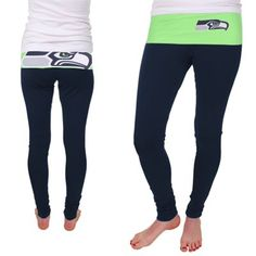 Seattle Seahawks Ladies Sublime Knit Leggings - College Navy/Neon Green