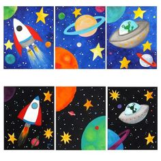 Space themed wall art for kids, set of 3 custom space paintings, black or blue, canvas acrylic art for children via etsy Space Painting, Painting For Kids, Art For Kids, Art Children, Acrylic Canvas, Canvas Art, Painting Canvas, Painting Quotes, Painting Videos