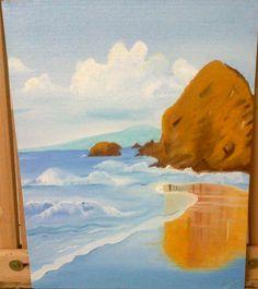 Beach. Oil on 35X45cm canvas board