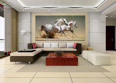 Hand-painted Hi-Q modern wall art home decorative animal oil painting on canvas--Galloping white horses 3pcs/set