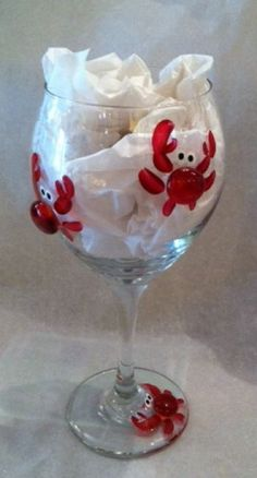 Crab Wine Glass. Hand painted in Delaware. Also available in blue! $24