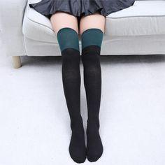 Women Girl Cotton Over Knee Knitted Winter Socks