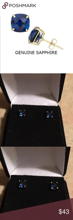 SEPTEMBER SAPPHIRE SEPTEMBER SAPPHIRES!! GORGEOUS STUDS RIGHT HERE! 1 CTW SQUARE CUT SET IN A 14K GOLD FILLED BASKET SETTING WITH BUTTERFLY BACKS GEMS MEASURE APPROX 5MM includes black velvet gift box Jewelry Earrings