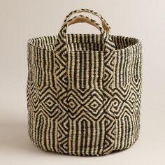 Black and White Jute Storage Basket