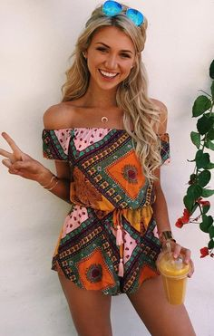 Hippie Outfit Ideas | the bohemian style and hot off the shoulder are all so gorgeous and we love the way they all look together this romper may be basic but that s why you ll love it it is perfect for those days you 235
