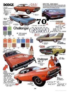 1970 Dodge Challenger range / I have a set or rally hub caps for the SE in mint condition. Retro Cars, Vintage Cars, Vintage Racing, Models Men, Mini Car, Car Posters, Car Advertising, Us Cars, Sport Cars