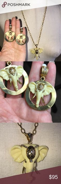 Elephant Necklace & Earrings Set Clip on earrings. Great set! Chain itself is 12 1/2 inches with a 4 inch extender. The elephant pendant (not including the top portion that hangs on the chain) is 2 inches and a quarter long by the widest part at the ears a little over 2 inches. Jewelry Necklaces